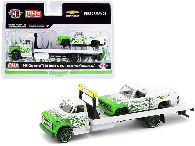 1968 Chevrolet C60 Flatbed Truck 1979 Chevrolet Silverado Pickup Truck Bed Cover White Green Flames Limited Edition 4400 pieces Worldwide 1/64 Diecast Models M2 Machines 39200-MJS04