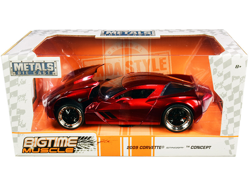 2009 Chevrolet Corvette Stingray Concept Red Metallic Bigtime Muscle 1/24 Diecast Model Car Jada 97467