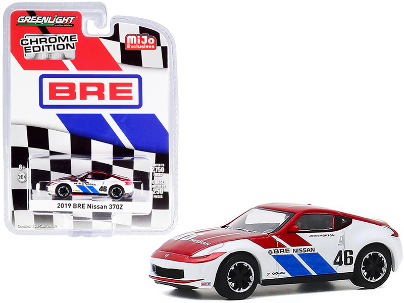 2019 Nissan 370Z #46 John Morton Chrome Red White BRE Brock Racing Enterprises Chrome Edition Limited Edition 2750 pieces Worldwide 1/64 Diecast Model Car Greenlight 51332