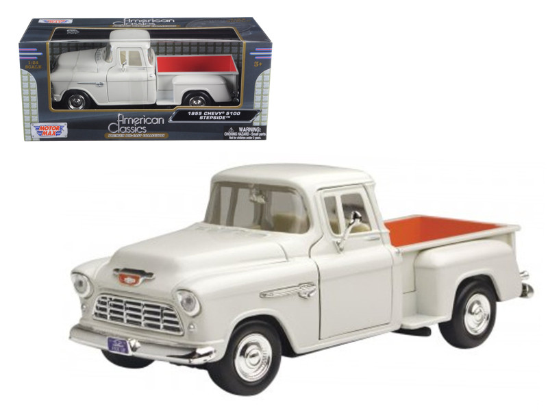 1955 Chevrolet 5100 Stepside Pickup Truck Beige 1/24 Diecast Car Model Motormax 73236
