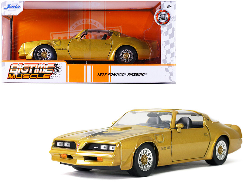 1977 Pontiac Firebird Trans Am T/A Gold Hood Bird Bigtime Muscle 1/24 Diecast Model Car Jada 32302