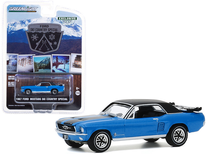 1967 Ford Mustang Vail Blue Black Stripes Top a Pair of Skis Ski Country Special Hobby Exclusive 1/64 Diecast Model Car Greenlight 30171