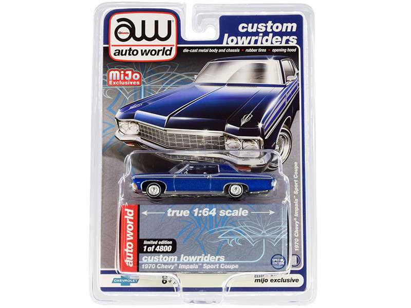 1970 Chevrolet Impala Sport Coupe Blue Metallic Custom Lowriders Limited Edition 4800 pieces Worldwide 1/64 Diecast Model Car Autoworld CP7666