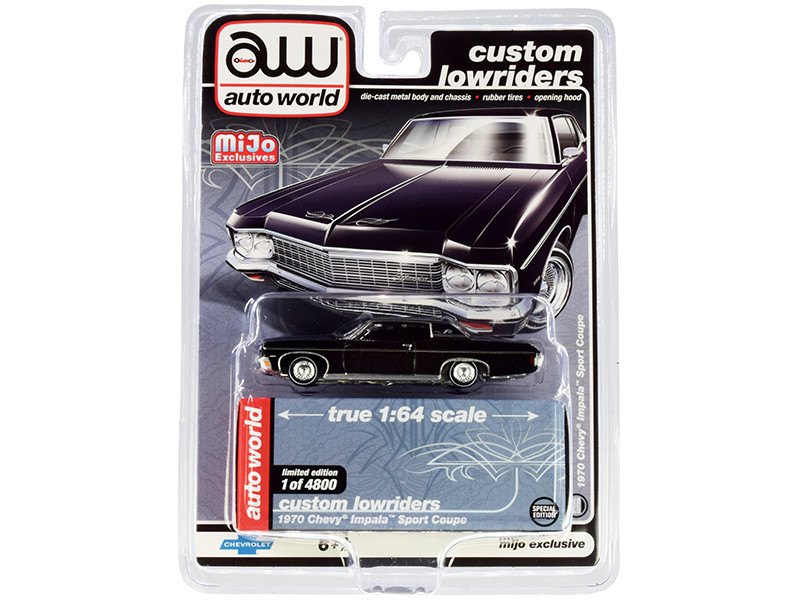 1970 Chevrolet Impala Sport Coupe Black Custom Lowriders Limited Edition 4800 pieces Worldwide 1/64 Diecast Model Car Autoworld CP7667
