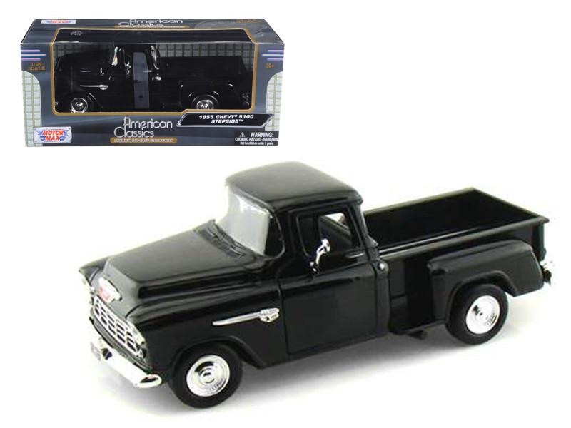 1955 Chevrolet 5100 Stepside Pickup Truck Black 1/24 Diecast Car Model Motormax 73236