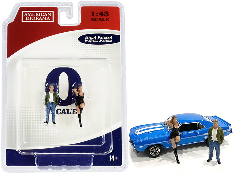 70s Style Two Figurines Set I for 1/43 Scale Models American Diorama 38351