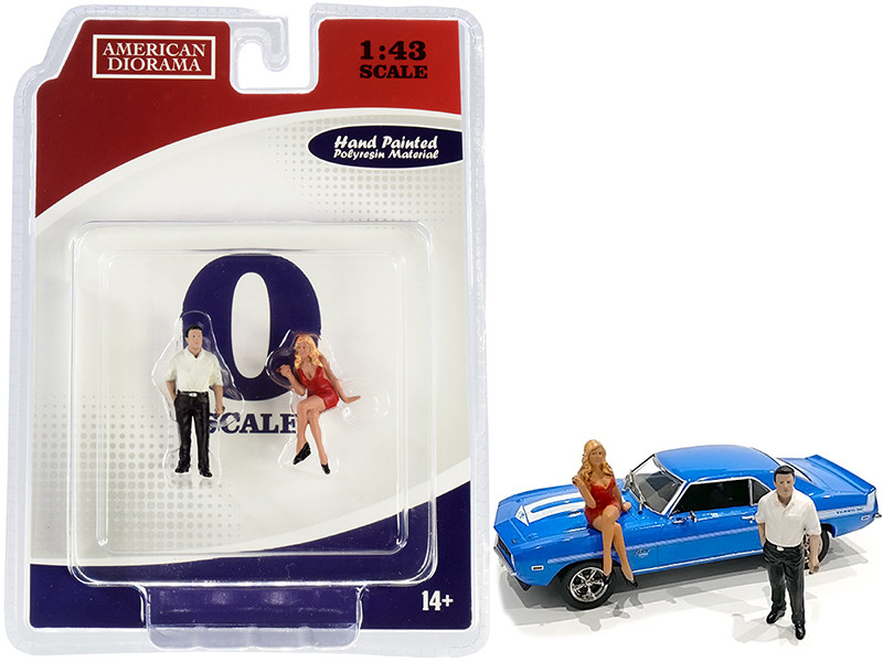 70s Style Two Figurines Set II for 1/43 Scale Models American Diorama 38352