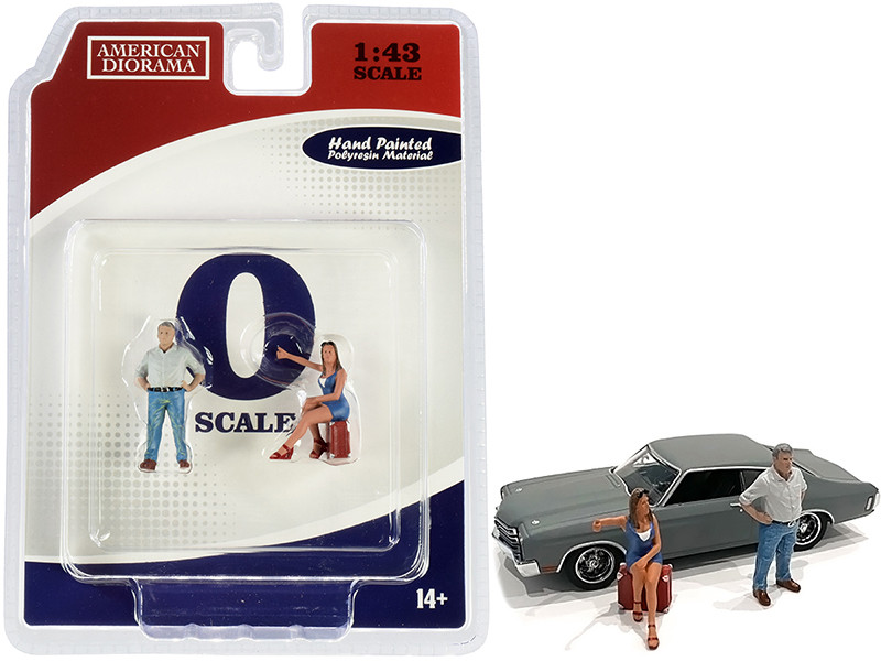 70s Style Two Figurines Set III for 1/43 Scale Models American Diorama 38353
