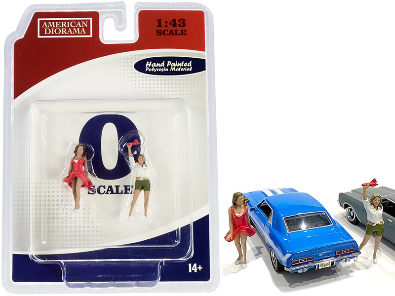 70s Style Two Figurines Set IV for 1/43 Scale Models American Diorama 38354