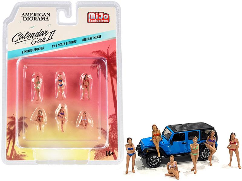 Calendar Girls 6 piece Diecast Figurine Set Release 2 for 1/64 Scale Models American Diorama 38409