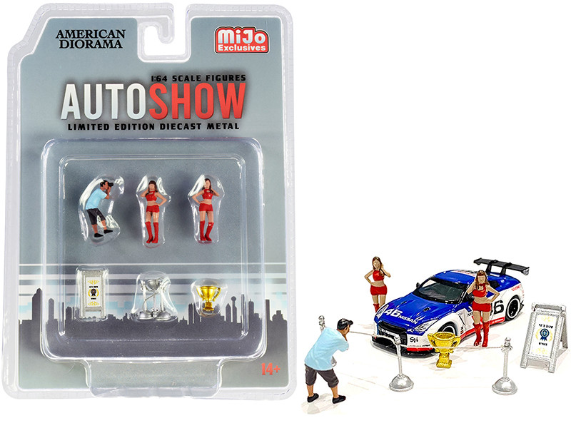 Auto Show Diecast Set of 6 pieces 3 Figurines 3 Accessories for 1/64 Scale Models American Diorama 38411
