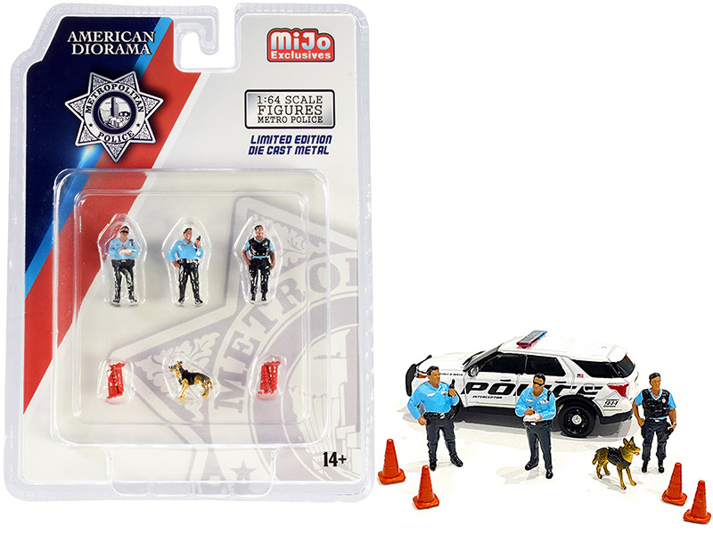 Metropolitan Police 8 piece Diecast Set 3 Figurines 1 Dog 4 Accessories 1/64 Scale Models American Diorama 76459