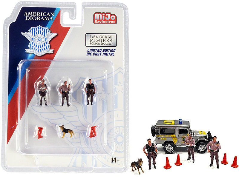 Police 8 piece Diecast Set 3 Figurines 1 Dog 4 Accessories for 1/64 Scale Models American Diorama 76460