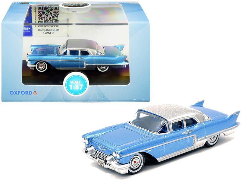 1957 Cadillac Eldorado Hardtop Copenhagen Blue Metallic Silver Top 1/87 HO Scale Diecast Model Car Oxford Diecast 87CE57003