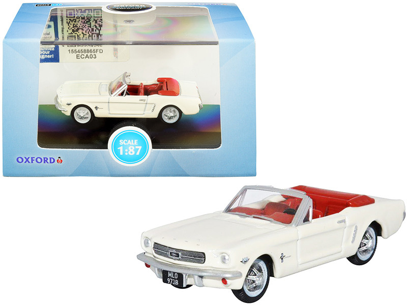 1965 Ford Mustang Convertible Wimbledon White Goldfinger Red Interior 1/87 HO Scale Diecast Model Car Oxford Diecast 87MU65005