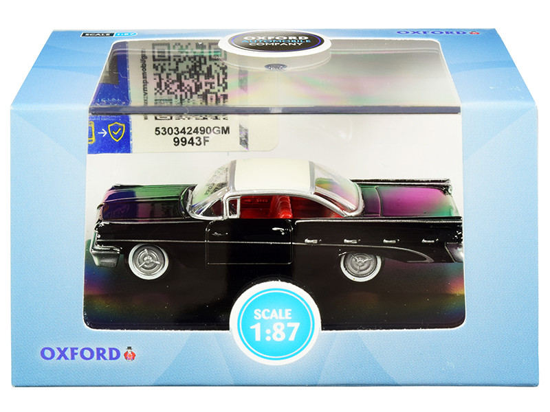 1959 Pontiac Bonneville Coupe Regent Black Cream Top Red Interior 1/87 HO Scale Diecast Model Car Oxford Diecast 87PB59004