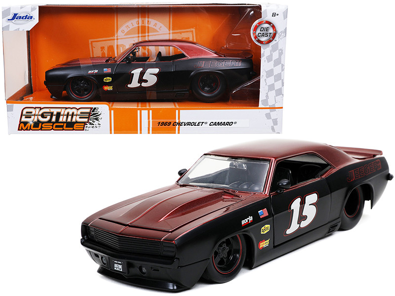1969 Chevrolet Camaro #15 Jeeger Matt Black Red Bigtime Muscle 1/24 Diecast Model Car Jada 32303