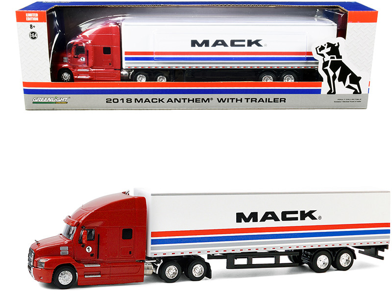 2018 Mack Anthem 18 Wheeler Tractor-Trailer #1 The Mack Performance Tour 2018 Red White Stripes 1/64 Diecast Model Greenlight 30193