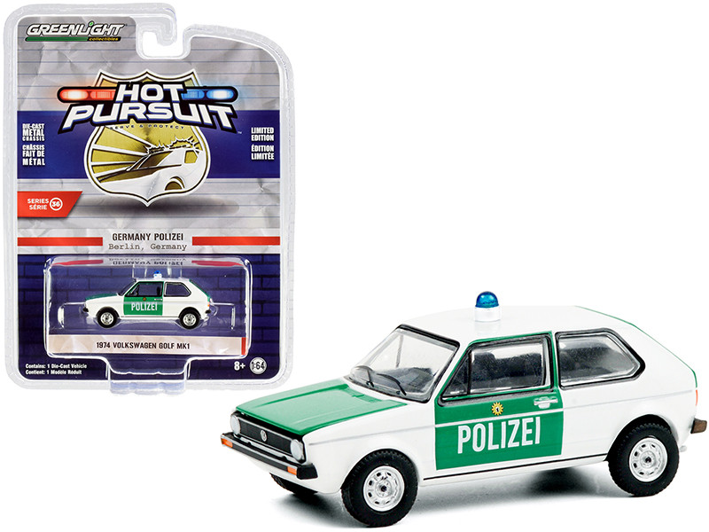1974 Volkswagen Golf Mk1 Polizei Berlin Germany Police Car White Green Hot Pursuit Series 36 1/64 Diecast Model Car Greenlight 42930 B