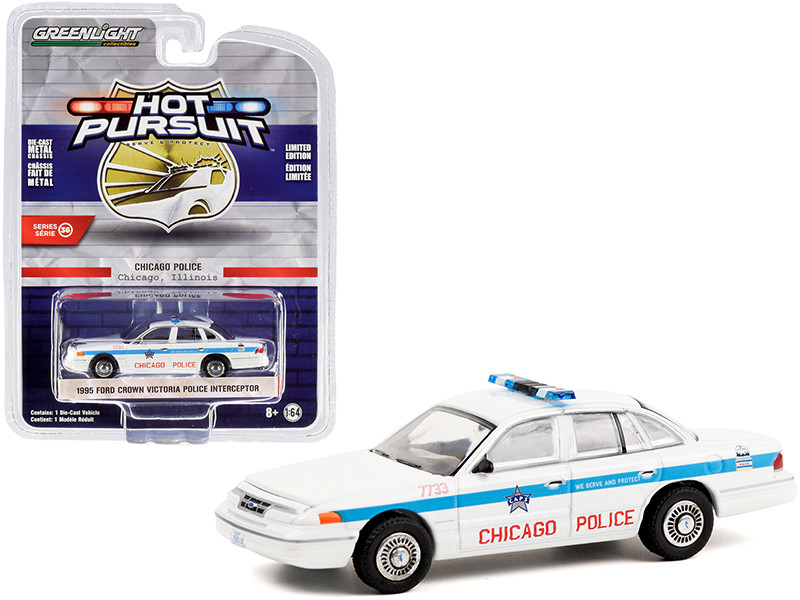 1995 Ford Crown Victoria Police Interceptor White Blue Stripes City of Chicago Police Department Hot Pursuit Series 36 1/64 Diecast Model Car Greenlight 42930 D