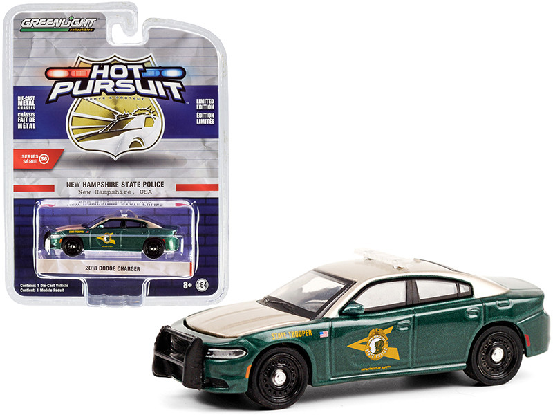 2018 Dodge Charger Tan Green Metallic New Hampshire State Police Hot Pursuit Series 36 1/64 Diecast Model Car Greenlight 42930 E