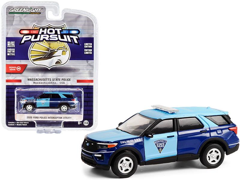 2020 Ford Police Interceptor Utility Blue Massachusetts State Police Hot Pursuit Series 36 1/64 Diecast Model Car Greenlight 42930 F
