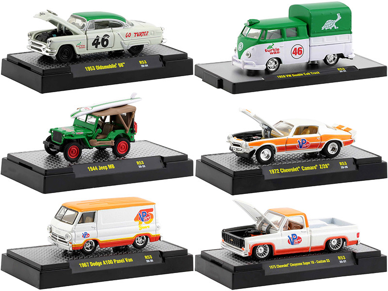 Auto Meets Set of 6 Cars IN DISPLAY CASES Release 53 1/64 Diecast Model Cars M2 Machines 32600-53
