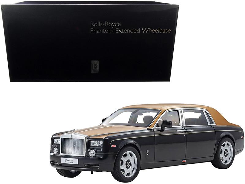 Rolls Royce Phantom Extended Wheelbase Diamond Black Gold 1/18 Diecast Model Car Kyosho 08841 BKG