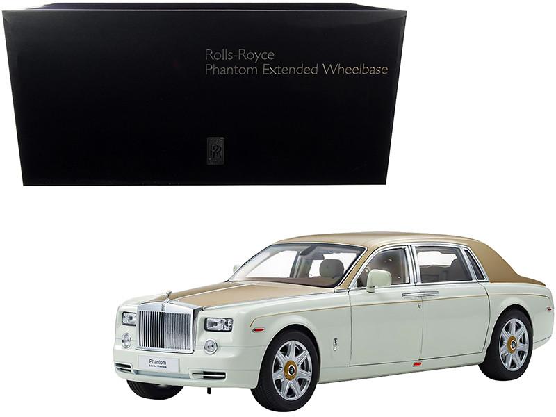 Rolls Royce Phantom Extended Wheelbase English White Gold 1/18 Diecast Model Car Kyosho 08841 EWG