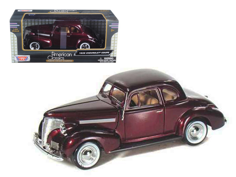1939 Chevrolet Coupe Burgundy 1/24 Diecast Model Car Motormax 73247