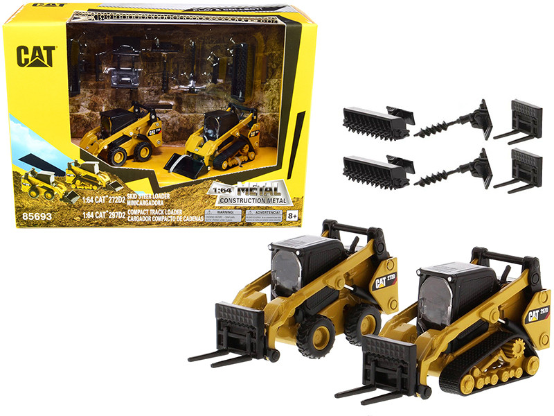 Set of 2 pieces CAT Caterpillar 272D2 Skid Steer Loader CAT Caterpillar 297D2 Compact Track Loader Accessories 1/64 Diecast Models Diecast Masters 85693