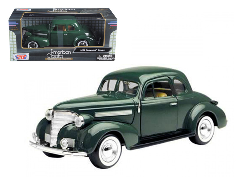 1939 Chevrolet Coupe Green 1/24 Diecast Model Car Motormax 73247