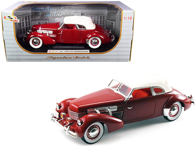 1937 Cord 812 Supercharged Coupe Burgundy White Top 1/18 Diecast Model Car Signature Models 18112