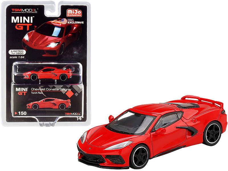 2020 Chevrolet Corvette Stingray C8 Torch Red Limited Edition 3600 pieces Worldwide 1/64 Diecast Model Car True Scale Miniatures MGT00150