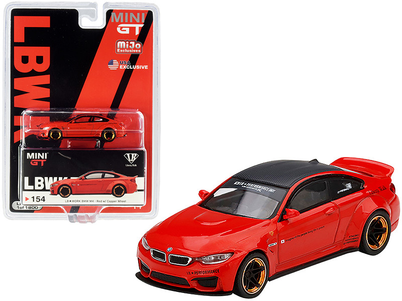 BMW M4 LB Works Red Copper Wheels Carbon Top Limited Edition 1800 pieces Worldwide 1/64 Diecast Model Car True Scale Miniatures MGT00154