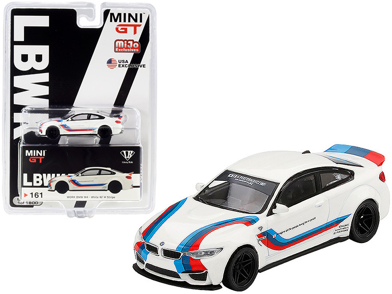 BMW M4 LB Works White Stripes Limited Edition 1800 pieces Worldwide 1/64 Diecast Model Car True Scale Miniatures MGT00161