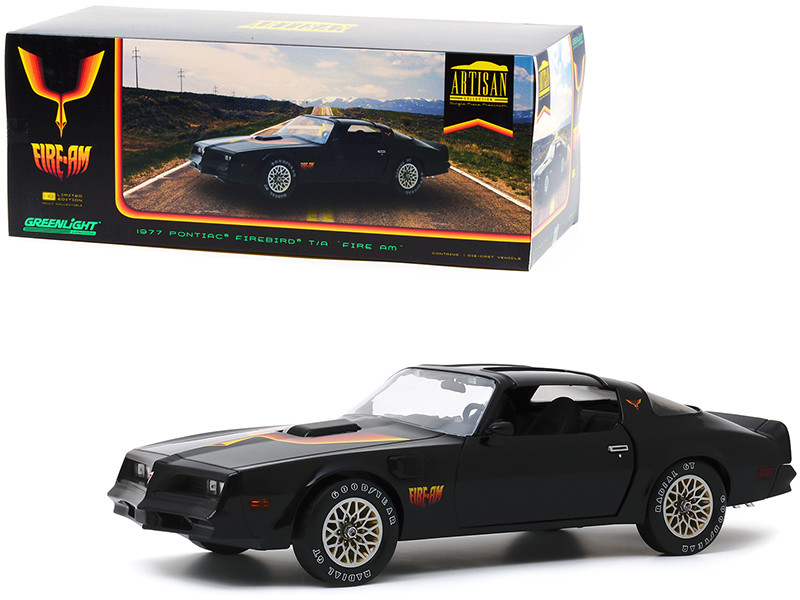 1977 Pontiac Firebird Trans Am T/A Fire Am Very Special Equipment VSE Black Hood Bird 1/18 Diecast Model Car Greenlight 19080