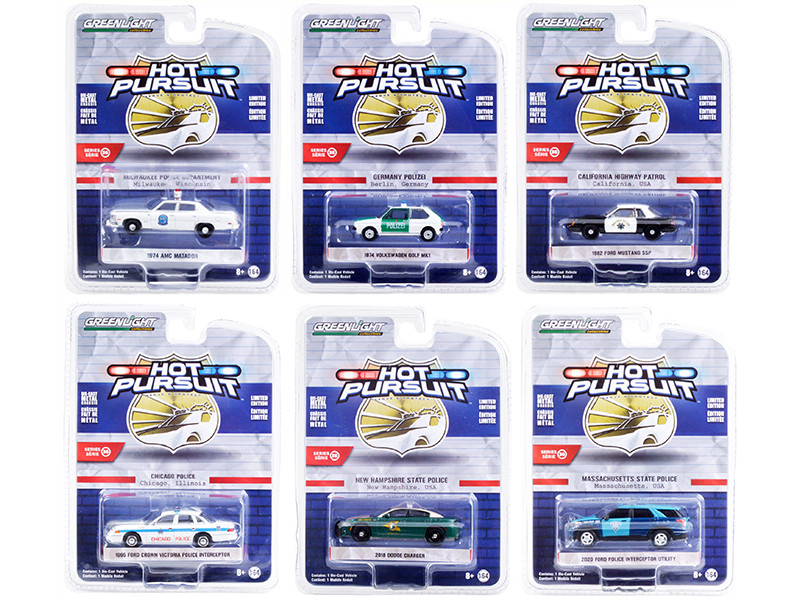 Hot Pursuit Set of 6 Police Cars Series 36 1/64 Diecast Model Cars Greenlight 42930