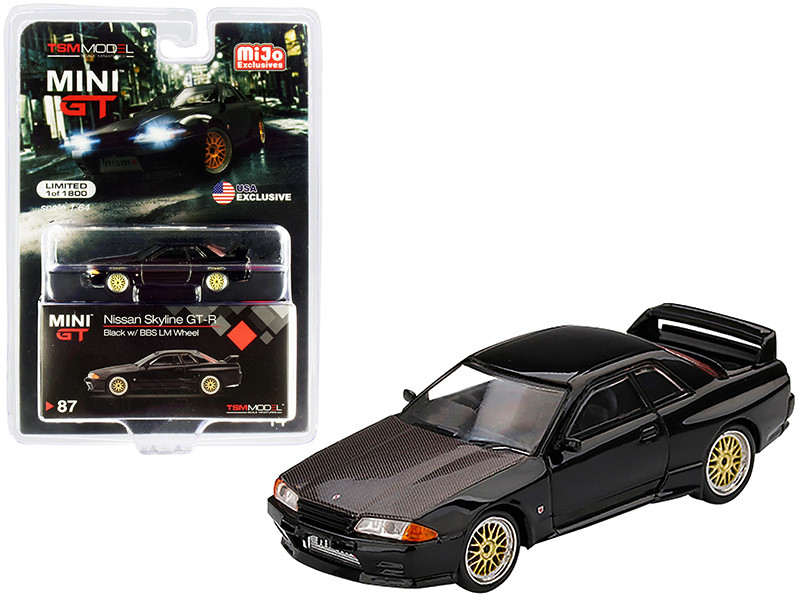Nissan Skyline GT-R R32 RHD Right Hand Drive Black BBS LM Wheels Carbon Hood Limited Edition 1800 pieces Worldwide 1/64 Diecast Model Car True Scale Miniatures MGT00087
