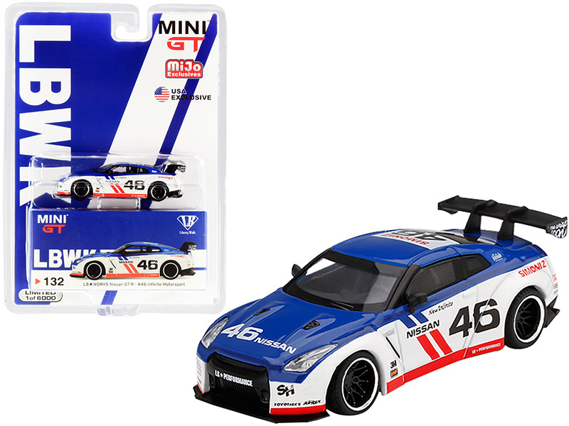 Nissan GT-R R35 Type 1 Rear Wing Version 1 LB Works #46 Infinite Motorsport Limited Edition 6000 pieces Worldwide 1/64 Diecast Model Car True Scale Miniatures MGT00132