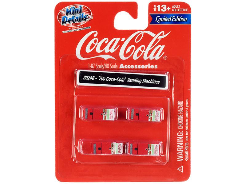 1970's Coca Cola Vending Machines 4 piece Accessory Set 1/87 HO Scale Models Classic Metal Works 20248