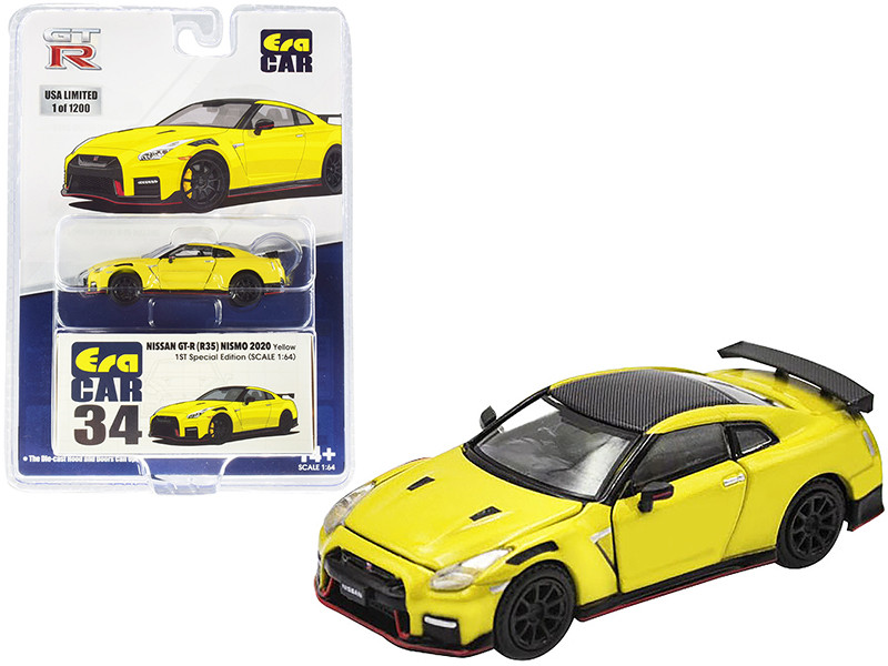 2020 Nissan GT-R R35 Nismo RHD Right Hand Drive Yellow Carbon Top Limited Edition 1200 pieces Special Edition 1/64 Diecast Model Car Era Car NS20GTRRF34B