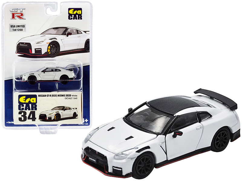 2020 Nissan GT-R R35 Nismo RHD Right Hand Drive White Carbon Top Limited Edition 1200 pieces 1/64 Diecast Model Car Era Car NS20GTRRN34B