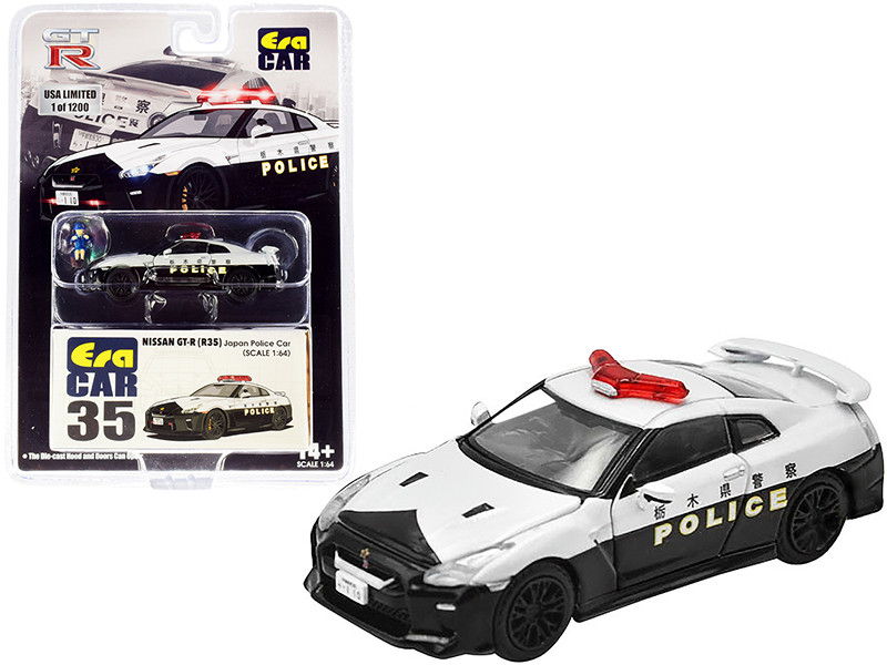 Nissan GT-R R35 RHD Right Hand Drive Japan Police Car Figurine Limited Edition 1200 pieces 1/64 Diecast Model Car Era Car NS20GTRRN35B