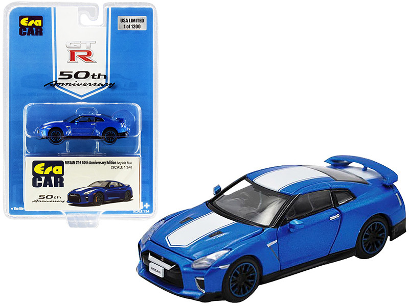 Nissan GT-R RHD Right Hand Drive Bayside Blue White Stripe 50th Anniversary Edition Limited Edition 1200 pieces 1/64 Diecast Model Car Era Car NS20GTRSP24B