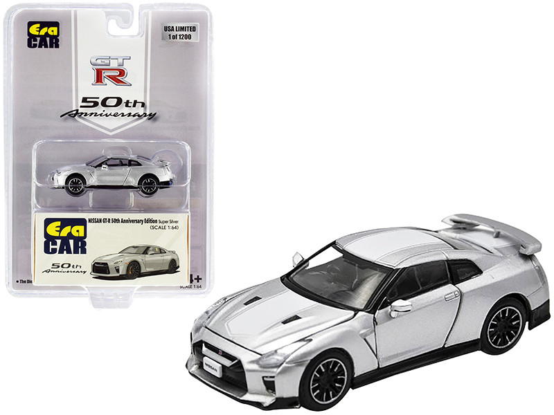 Nissan GT-R RHD Right Hand Drive Super Silver White Stripe 50th Anniversary Edition Limited Edition 1200 pieces 1/64 Diecast Model Car Era Car NS20GTRSP25B