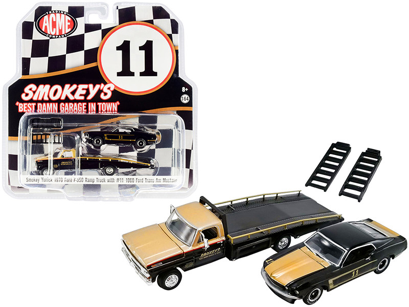 1970 Ford F-350 Ramp Truck 1969 Ford Trans Am Mustang #11 Black Gold Smokey's Yunick ACME Exclusive 1/64 Diecast Model Cars Greenlight ACME 51341