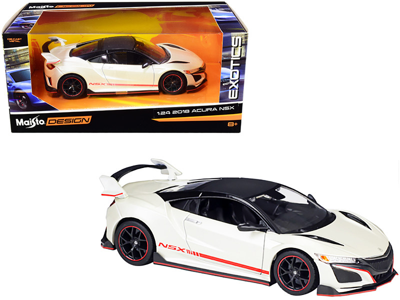 2018 Acura NSX Pearl White Carbon Top Exotics 1/24 Diecast Model Car Maisto 32536