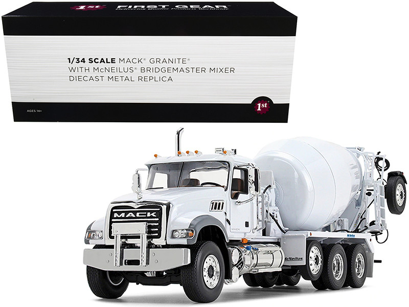 Mack Granite MP McNeilus Bridgemaster Mixer Pusher Axle White 1/34 Diecast Model First Gear 10-4180