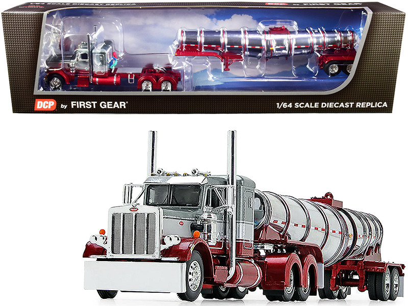 "Peterbilt 359 Day Cab Glacier Silver Coral Red Chrome 36"" Sleeper Bunk Polar Deep Drop Tank Trailer 1/64 Diecast Model DCP First Gear 60-0774"